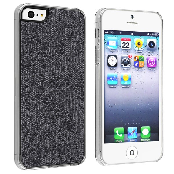 INSTEN Black Bling Snap-on Phone Case Cover for Apple iPhone 5