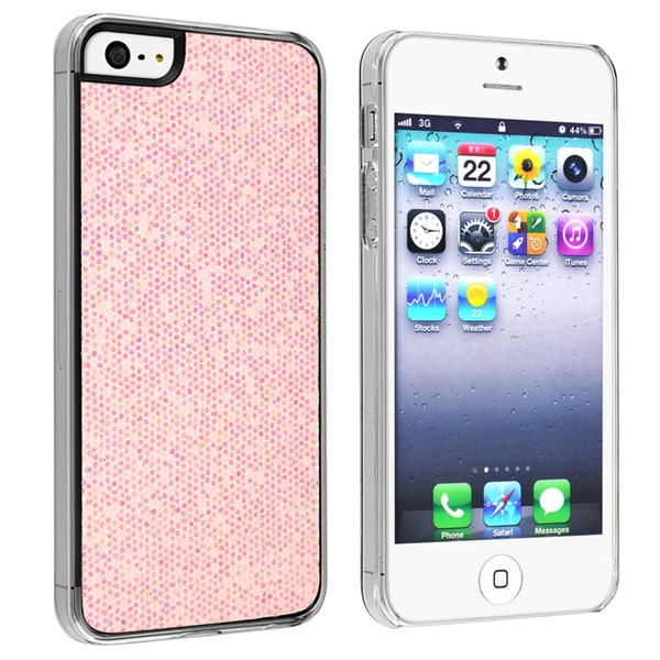 INSTEN Light Pink Bling Snap-on Phone Case Cover for Apple iPhone 5