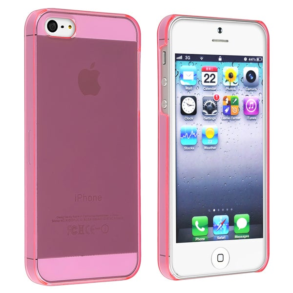 INSTEN Clear Hot Pink Snap-on Slim Phone Case Cover for Apple iPhone 5/ 5S