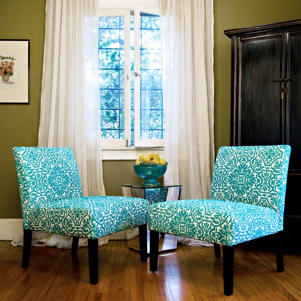Handy Living Bradstreet Damask Turquoise Blue Armless Chairs Set of 2