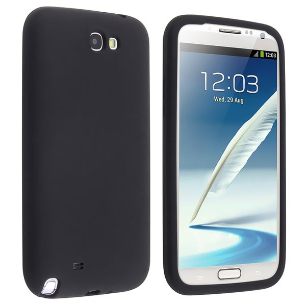 BasAcc Black Silicone Skin Case for Samsung Galaxy Note 2 N7100