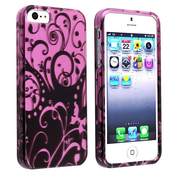 BasAcc Purple/ Black Swirl Snap-on Case for Apple iPhone 5