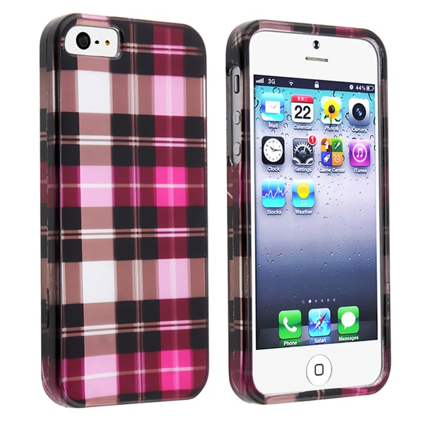 BasAcc Hot Pink Checker Snap-on Case for Apple iPhone 5