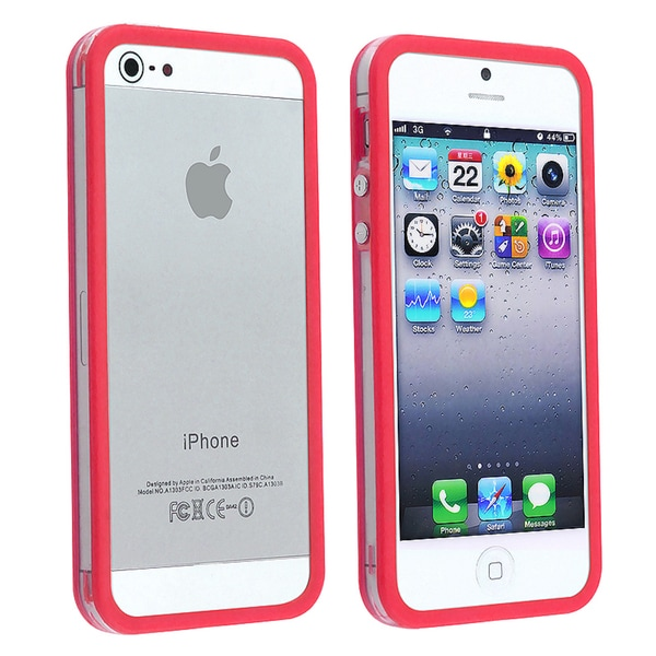INSTEN Clear/ Red Bumper Phone Case Cover with Button for Apple iPhone 5/ 5S
