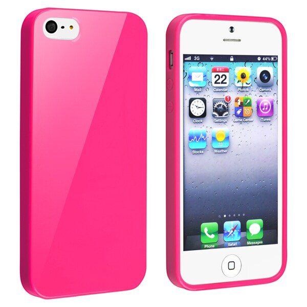 INSTEN Hot Pink Jelly TPU Rubber Skin Phone Case Cover for Apple iPhone 5/ 5S