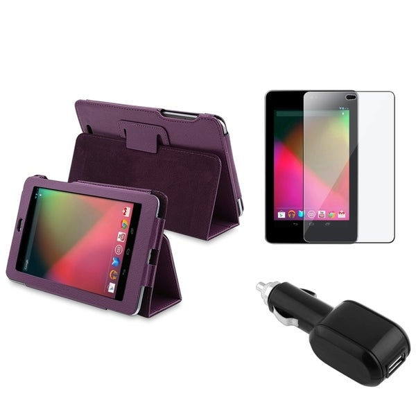 BasAcc Leather Case/ LCD Protector/ Car Charger for Google Nexus 7