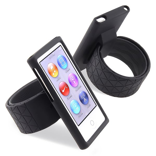 BasAcc Black Silicone Watchband Case for Apple iPod Nano Generation 7