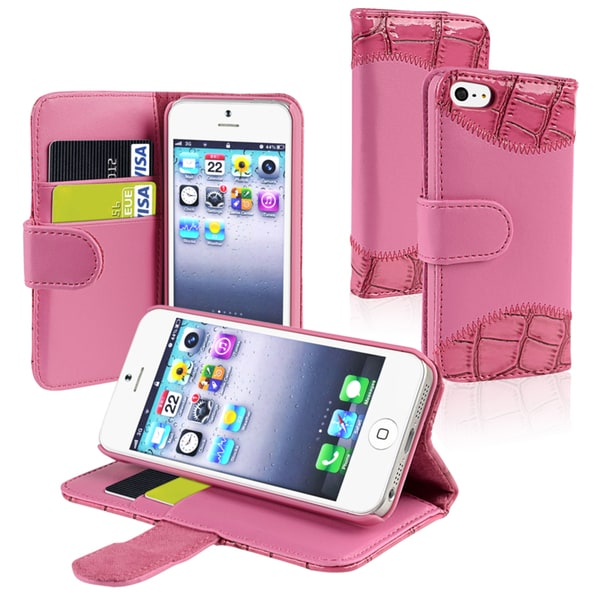 BasAcc Pink Leather Case with Stand/ Card Holder for Apple iPhone 5/ 5S