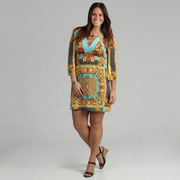 White Mark Women's Plus 'Venezia' Gold Turquoise Dress