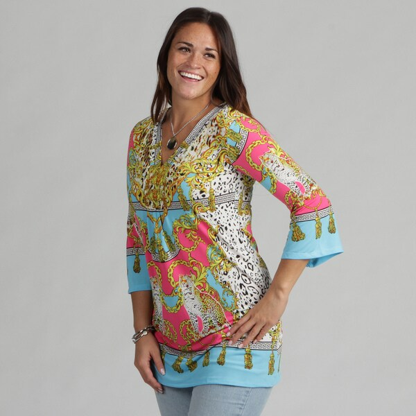 White Mark Women's Plus 'Florence' Yellow Turquoise Tunic