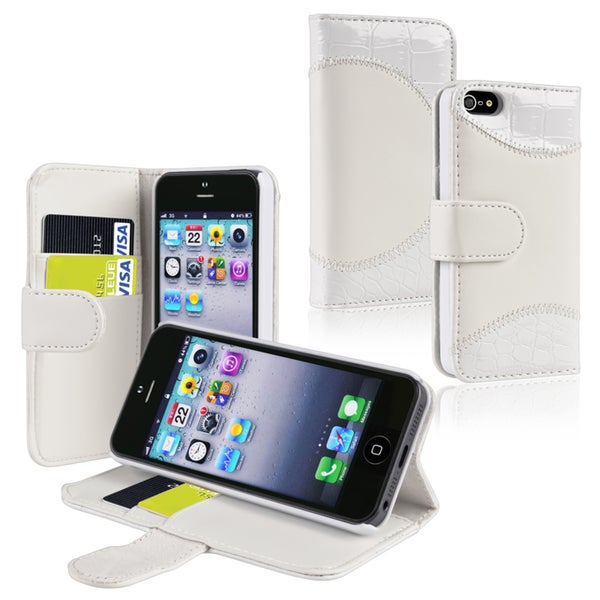BasAcc White Leather Case with Stand/ Card Holder for Apple iPhone 5/ 5S