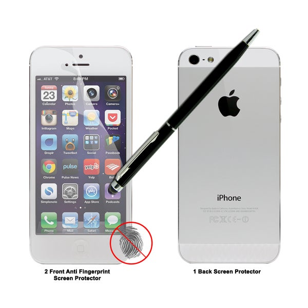 Anti-Fingerprint Screen Protectors for the Apple iPhone 5 with Dual-Purpose Stylus Pen