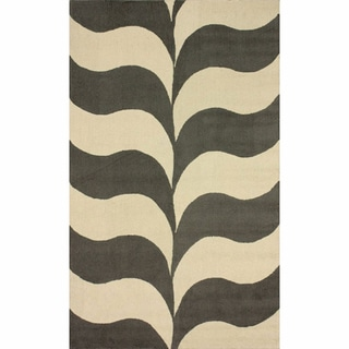 nuLOOM Handmade Waves Grey Wool Rug