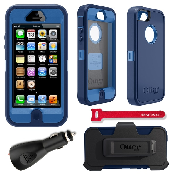 OtterBox Defender iPhone 5 Protector Case / 2000 mAh Charger / Hook and Loop Cable Tie