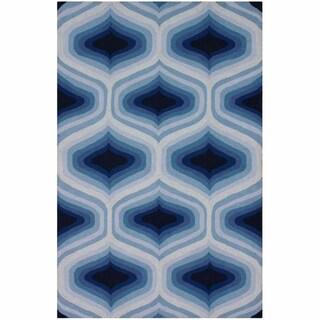 nuLOOM Handmade Ombre Trellis Blue Wool Rug