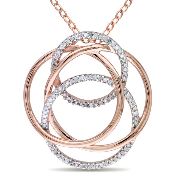 Miadora Rose-plated Silver 1/4ct TDW Diamond Necklace
