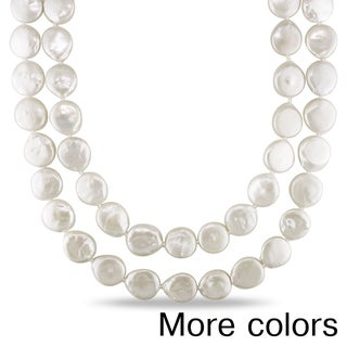 Miadora Champagne or White Cultured Freshwater Pearl Endless Necklace (11-12 mm)
