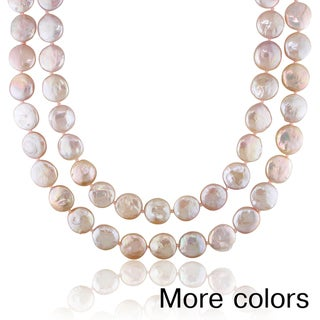 Miadora Brown or Pink Cultured Freshwater Pearl Endless Necklace (12-13 mm)