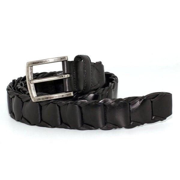 Toneka Men's Black Faux-leather Hexagon-pieced Dress Belt