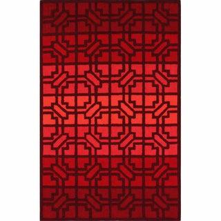 nuLOOM Handmade Modern Trellis Red Wool Rug