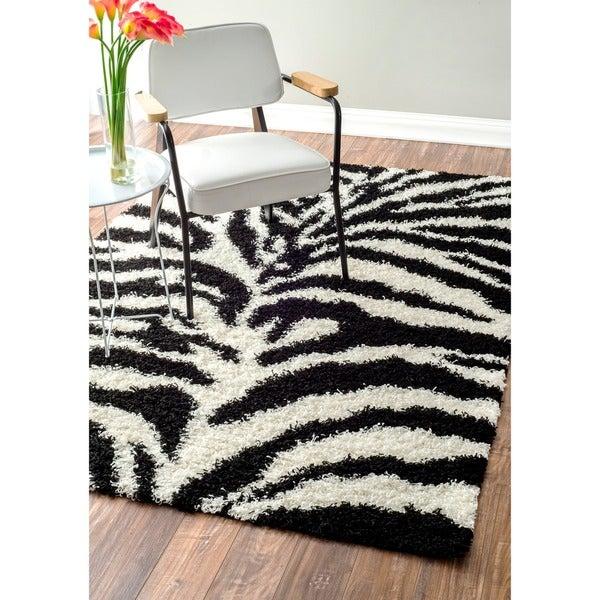 Nuloom Black And White Rug: Shop NuLOOM Luna Black And White Zebra Shag Rug