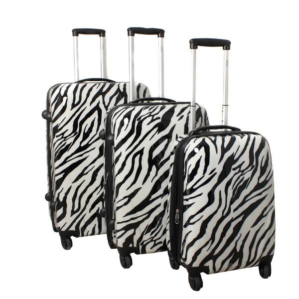 World Traveler Zebra 3-piece Lightweight Hardside Spinner Luggage Set with Combination Lock