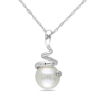 Miadora 14k White Gold White Cultured Akoya Pearl Necklace (8-8.5 mm)