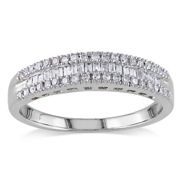 Miadora 14k White Gold 1/4ct TDW Baguette-cut Diamond Ring