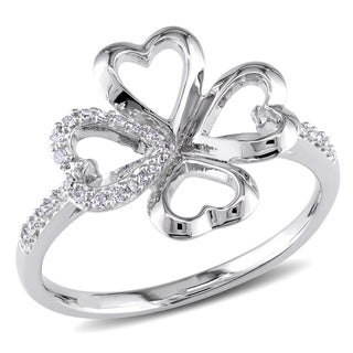 Miadora Sterling Silver Heart Four Leaf Clover Diamond Ring