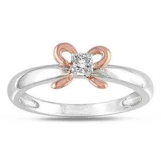 Silver and 14k Rose Gold Diamond Accent Bow Ring