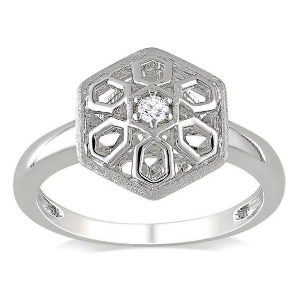 Miadora Sterling Silver Geometric Diamond Accent Ring