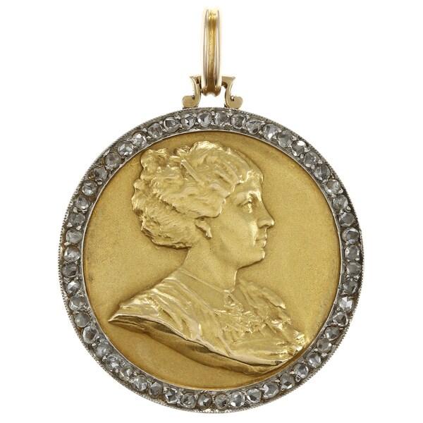 18k Gold 1ct TDW Diamond Antique Locket Estate Pendant (I-J, VS1-VS2)