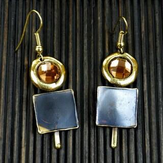 Handmade Brass Showplace Topaz Earrings (South Africa)