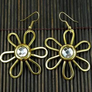 Handmade Brass Crystal Daisy Earrings (South Africa)