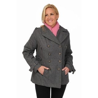 Excelled Women's Plus Size Wool Blend Double Breasted Peacoat with Waist Tab Detail