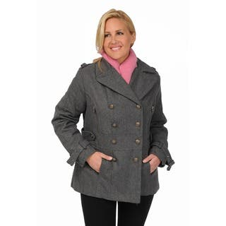 Excelled Women's Plus Size Wool Blend Double Breasted Peacoat with Waist Tab Detail|https://ak1.ostkcdn.com/images/products/7468114/P14916062.jpg?impolicy=medium