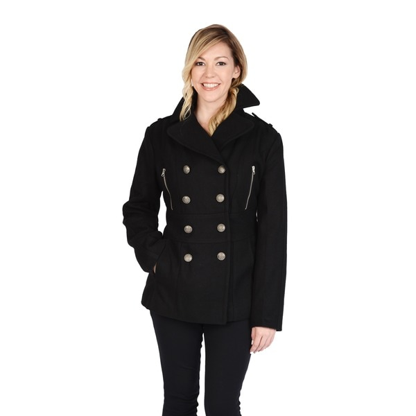 Excelled Women's Wool Blend Double Breasted Peacoat with Waist Tab Detail. Opens flyout.