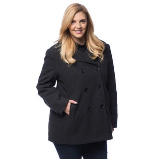 Excelled Women's Plus Double-breasted Peacoat