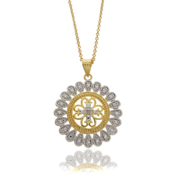 Finesque Two-tone Silverplated Diamond Accent Medallion Necklace