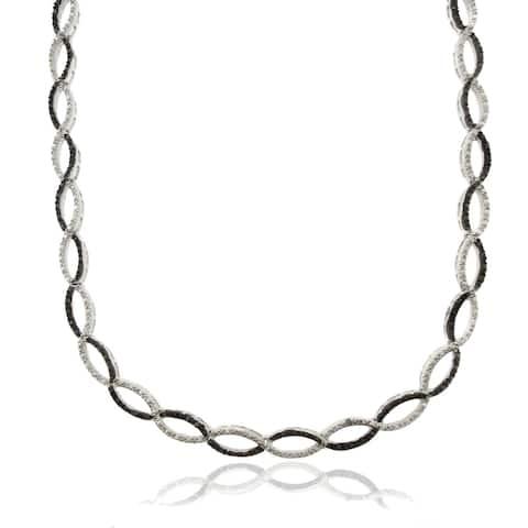 Finesque Silver Overlay 1/4ct TDW Black Diamond Infinity Necklace