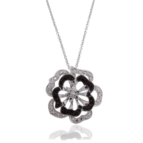 Finesque Silver Overlay Black and White Diamond Accent Flower Necklace