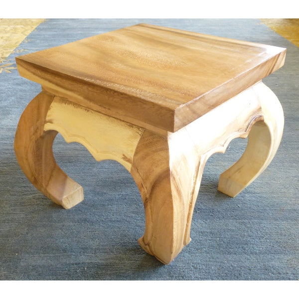 12-inch Monkey Wood White Marble Opium Table (Thailand)