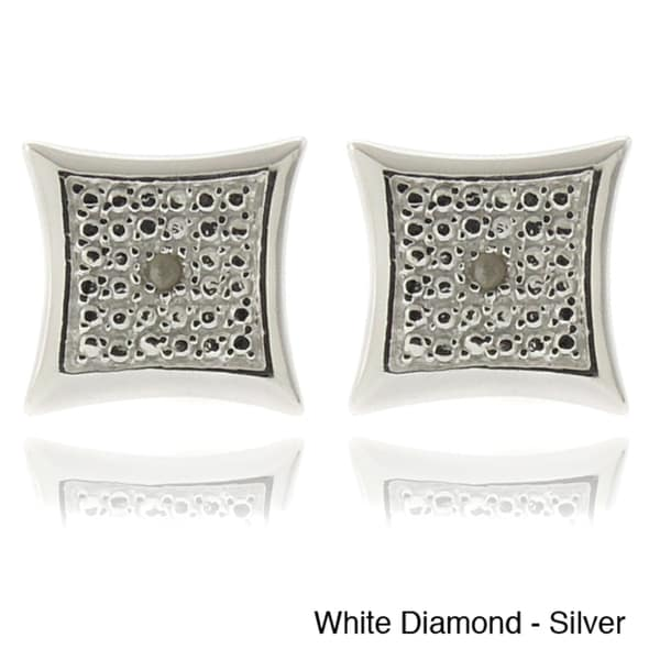 Finesque Silver or Goldplated Black or White Diamond Accent Square Earrings