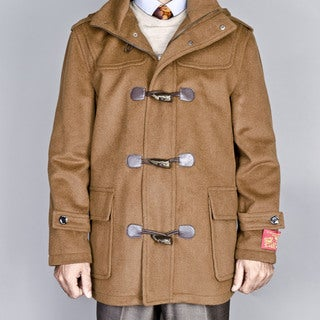 Men's Chesnut Wool/ Cashmere Blend Toggle Coat