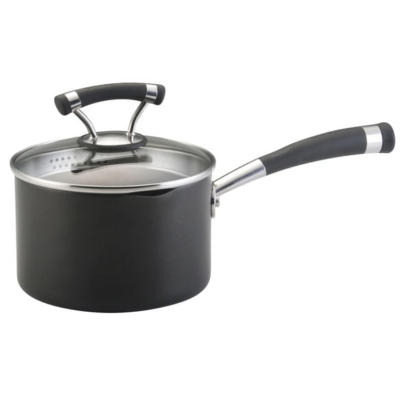 Circulon Contempo 2-quart Black Covered Straining Saucepan