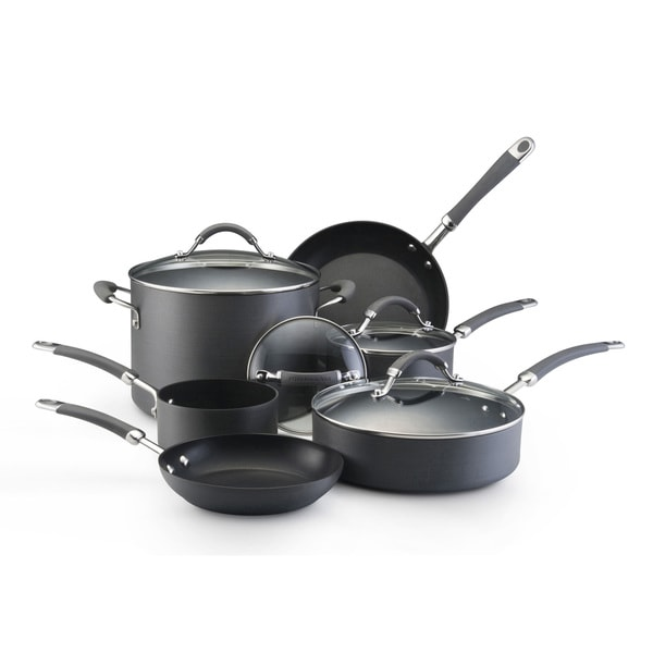 Kitchenaid hard anodized nonstick 10 piece grey cookware set free shipping today overstock - Kitchenaid aluminum nonstick piece cookware set ...