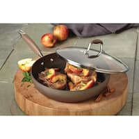 Anolon Bronze Hard-Anodized Nonstick 12-inch Covered Deep Skillet