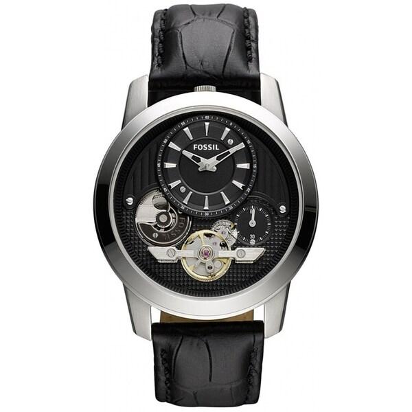 Shop Fossil Men S Me1113 Grant Twist Black Leather Watch