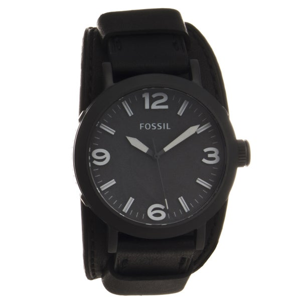 Fossil Men's Stainless Steel 'Clyde' Wide Leather Cuff Watch