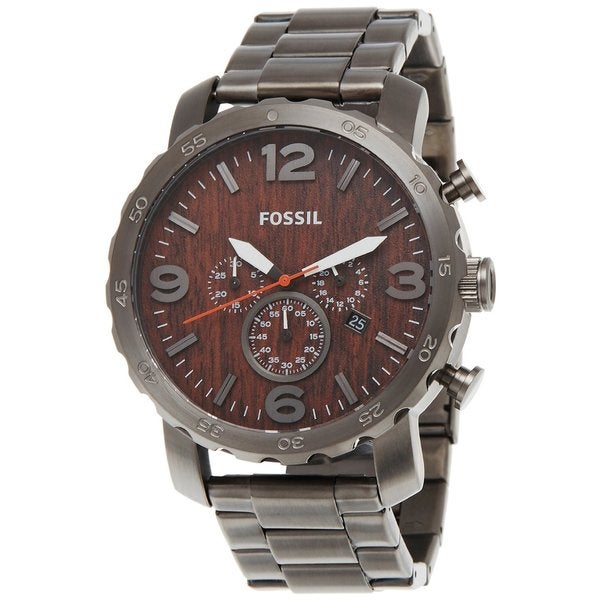 846d6a1255ad Shop Fossil Men s  Nate  Smoke-tone Steel Wood-inspired Dial ...
